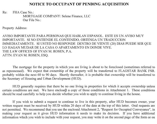 Acquisition Letter